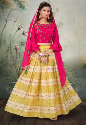Printed Art Silk Lehenga in Yellow