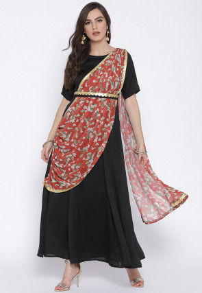 Printed Art Silk Maxi Dress with Attached Dupatta in Black