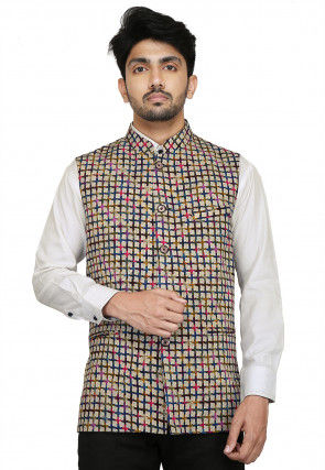 Printed Art Silk Nehru Jacket in Beige and Multicolor