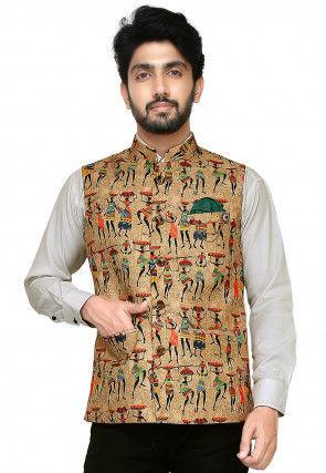 Printed Art Silk Nehru Jacket in Beige