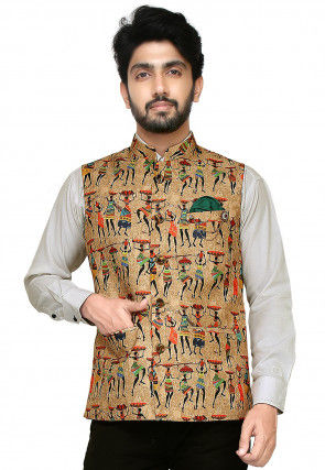 Printed Art Silk Nehru Jacket in Beige