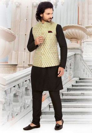 Printed Art Silk Nehru Jacket in Light Yellow