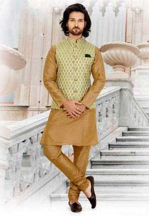 Printed Art Silk Nehru Jacket in Pastel Green