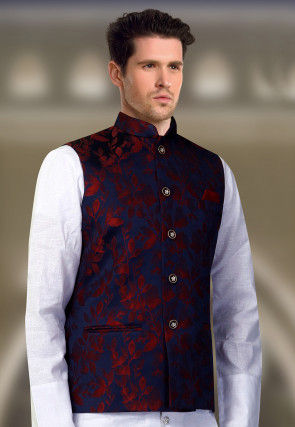 Printed Art Silk Nehru Jacket in Navy Blue