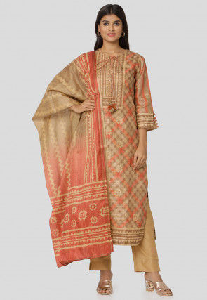 Printed Art Silk Pakistani Suit in Beige
