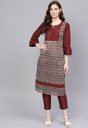 Printed Art Silk Pakistani Suit in Maroon
