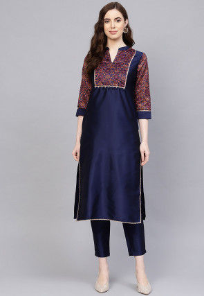 Printed Art Silk Pakistani Suit in Navy Blue