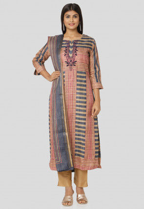 Printed Art Silk Pakistani Suit in Peach and Blue