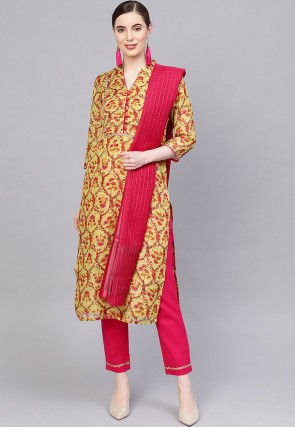 Printed Art Silk Pakistani Suit in Yellow