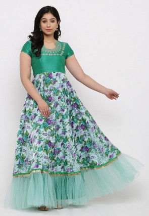Printed Art Silk Ruffled Gown in Light Sky Blue and Teal Green