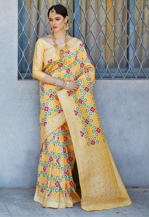 Printed Art Silk Saree in Beige