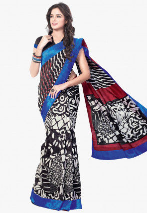 Printed Art Silk Saree in Black and White