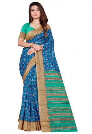 Printed Art Silk Saree in Blue