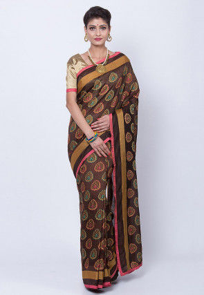 Printed Art Silk Saree in Dark Brown