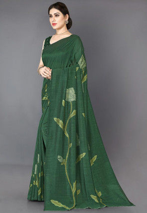 Printed Art Silk Saree in Dark Green