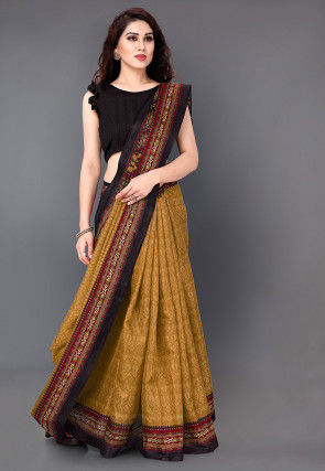 Printed Art Silk Saree in Dusty Mustard