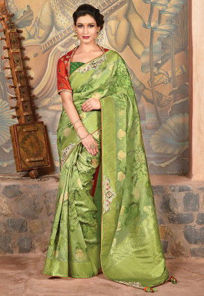 Printed Art Silk Saree in Green