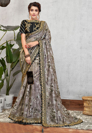 Printed Art Silk Saree in Grey