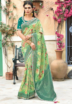 Printed Art Silk Saree in Light Green
