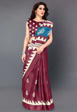 Printed Art Silk Saree in Magenta