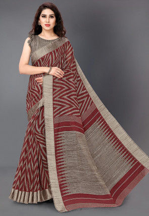 Printed Art Silk Saree in Maroon and Grey