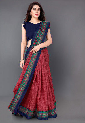 Printed Art Silk Saree in Maroon