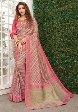Printed Art Silk Saree in Multicolor