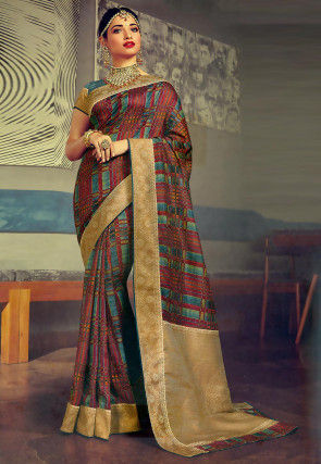 Printed Art Silk Saree in Multicolor