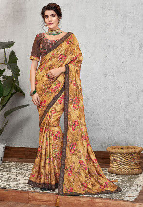 Printed Art Silk Saree in Mustard