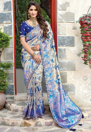 Printed Art Silk Saree in Off White and Blue