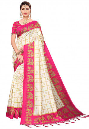 Printed Art Silk Saree in Off White