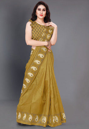 Printed Art Silk Saree in Olive Green