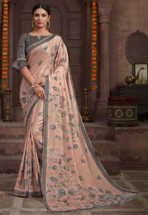 Printed Art Silk Saree in Peach