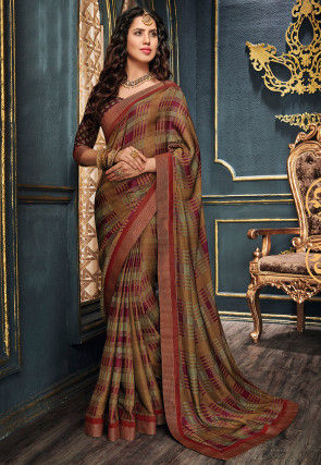 Printed Art Silk Saree in Pink and Multicolor