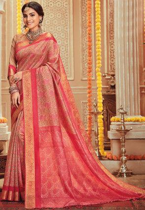 Printed Art Silk Saree in Pink