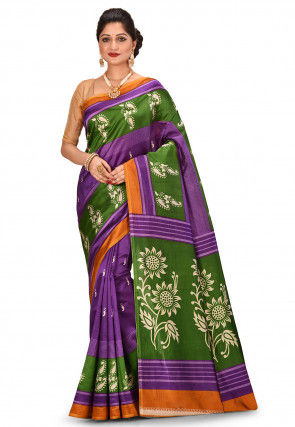 Printed Art Silk Saree in Purple and Green