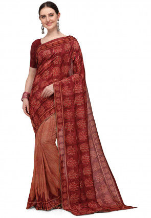 Printed Art Silk Saree in Red and Rust