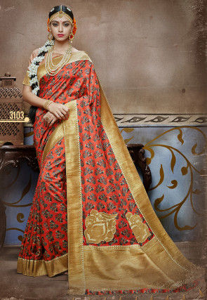 Printed Art Silk Saree in Red
