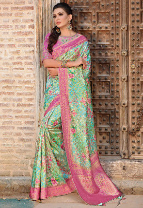 Printed Art Silk Saree in Sea Green