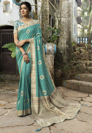 Printed Art Silk Saree in Teal Blue
