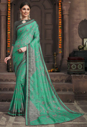 Printed Art Silk Saree in Teal Green