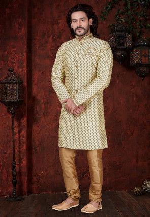 Printed Art Silk Sherwani in Cream