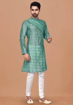 Printed Art Silk Sherwani in Light Teal Green