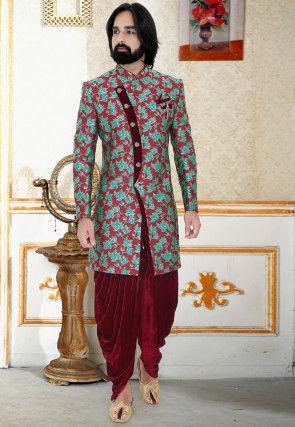 Printed Art Silk Sherwani in Maroon and Teal Green