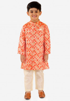 Printed Art Silk Sherwani in Orange