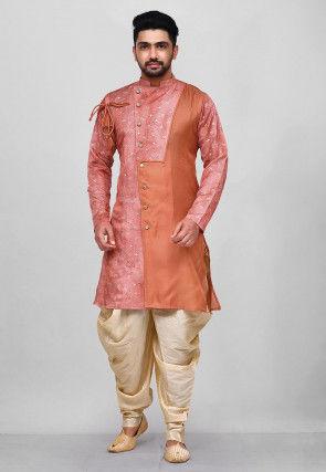Printed Art Silk Sherwani in Peach and Orange