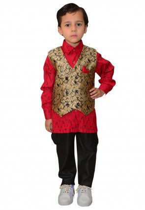 Printed Art Silk Shirt Set in Red and Beige