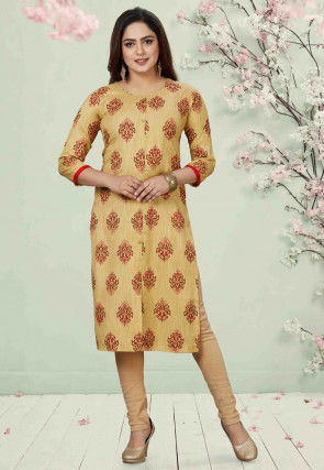 Printed Art Silk Straight Kurta in Beige