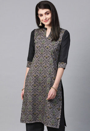 Printed Art Silk Straight Kurta in Grey and Black