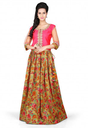Printed Bhagalpuri Art Silk Lehenga in Olive Green